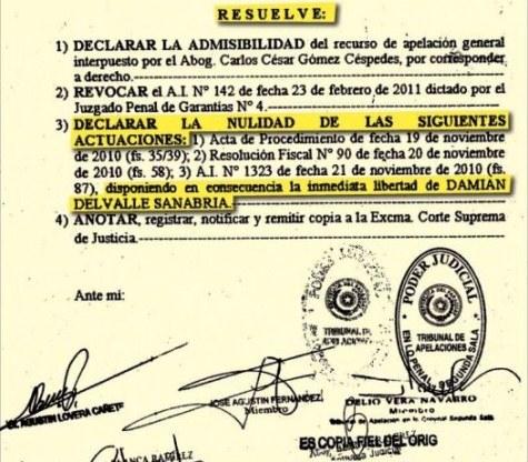 Entlassungsurkunde von Damián Delvalle Sanabria