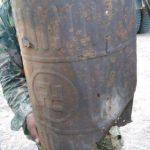 Behälter mit Hakenkreuz Aufschrift im Chaco gefunden