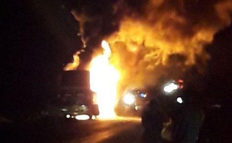 Langstreckenbus gerät in Brand