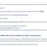 USA warnt seine Bewohner vor Reisen nach Paraguay