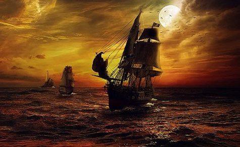 Der Kapitän an Bord eines Schiffes mit lauter Piraten