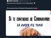 """Polizei: """"Wenn Sie das Coronavirus bekommen, liegt die Schuld bei Ihnen"""""""
