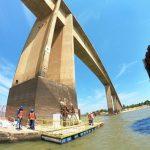 Niedriger Flusspegel offenbart Brückenschäden
